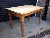 Antique Victorian Pine Kitchen Dining Table