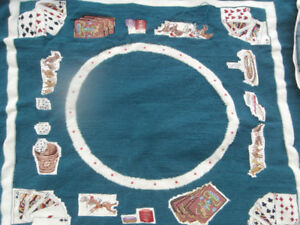 NEEDLEPOINT CARD TABLE COVER HORSES, GAMBLING, RACETRACK, DICE