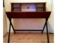 modern desk - dark wood & metal legs with built-in shelves and large 'hidden' drawers