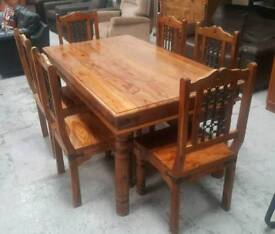 Solid indian pine wood dining table & 6 chairs can deliver 07808222995