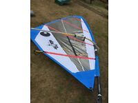 Windsurfing kit for sale: Fanatic Bee 274 board w bag, two sails (5.7 and 6.4 m), boom & mast.