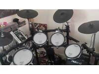 Roland TD=9 electronic drum kit including speaker, double bass pedals and stool