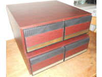 Two Retro VHS Video Cassette Storage Drawer Units