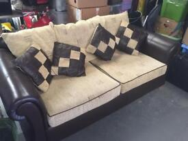 LARGE EXPENSIVE LEATHER / UPHOLSTERED SOFA