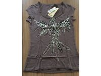 Blend ladies t shirt 100% cotton grey with silver/ black motif size s,m,l& xl available