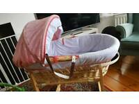 Izziwotnot Moses basket, stand, mattress and sheets