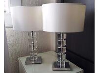 Designer Table Lamps x2 (48cm x 30cm x 17cm).