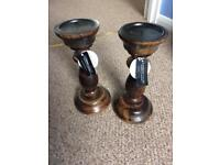 2 x new wooden candle holders