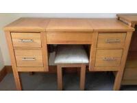 Oak Veneer Dressing Table & Stool