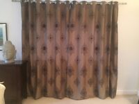 Curtains - Immaculate, fully lined, full length Mocca & black x 4 pairs with tie backs