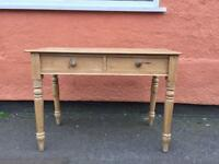 VICTORIAN PINE SIDE TABLE WITH DRAWERS