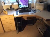 Quality Beech Desk and 4 Drawers Set