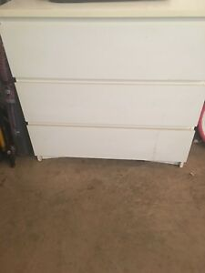 White 3 drawer dresser for sale