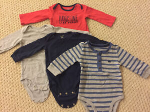 4 long sleeve body suits 12m