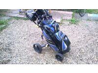 Modern, lightweight, Olfstream bag, Dunlop Maxx clubs and Axglo ICart
