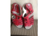 Ladies size 4 red leather sandal