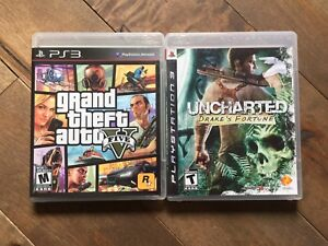 """Grand Theft Auto 5 & Uncharted """"Drake's Fortune"""" -PS3"""