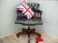 Stunning Leather Green Chesterfield Captains Chair.