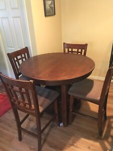 Solid Wood Bar Height Table and (6)Chairs