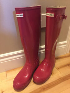 Pink Barely Used Hunter Boots-Tall