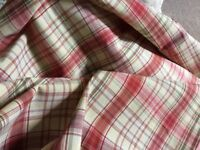 Biscuit and red checked curtain fabric 3.5m