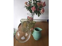 Beautiful Collection Of Vases and a Glass Salad Bowel For Sale