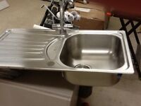 Sink, stainless steel, (Blanco)single bowl and drainer, mixer tap
