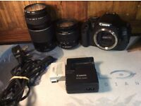 Canon 600d with 2 lenses, bag and tripod