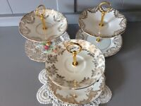 Bone China Mini 2 Tier Trinket, Sweet, Buscuit Stands in White and Gold.
