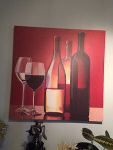 Wine Bottles and Glasses Canvas on wood