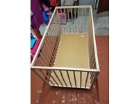 WOODEN COT AND 2 IN 1 HAUCK CARRYCOT. IMMACULATE CONDITION