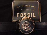 Fossil** Grant Automatic Navy Leather Watch