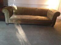 Handsome big green velvet Chesterfield sofa