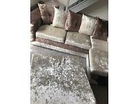 Stunning Velvet Effect Corner Sofa 4 months old