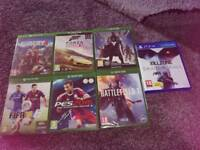 Selection of x box games, one ps4 game