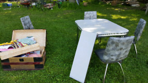 Vintage table, leaf and 4 chairs