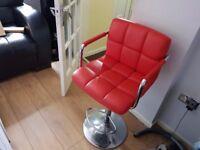 Kitchen Breakfast Bar Stool RED PU Swivel Counter Chair Footrest £15! BARGAIN! L@@K!