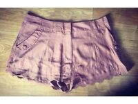 New Look Brown Scolloped Shorts - Size 16