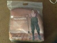 Waders/wading trousers with attached boots XL size(brand new still in packaging)