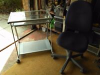 Glass Computer Desk and Blue Chair