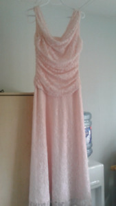 Pink floral lace drape neckline sleeveless dress
