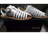 ****BRAND NEW IN BOX**** Women's Firetrap White Leather Strappy Flat Gladiator Sandals
