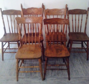 6 Antique HARVEST TABLE Chairs HARDWOOD Vintage