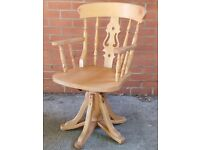 Solid Beech Windsor Office Swivel Revolving Chair Armchair