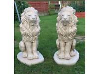Lions x2 ; cast stone garden ornament