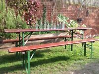 Industrial German beer table garden BBQ table and benches