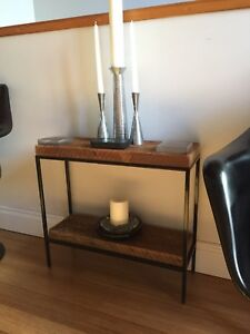 MINI VINTAGE RECLAIMED WOOD CONSOLE DISPLAY TABLE SIDE END STAND