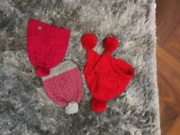 3 winter hats (Red pinky and grey