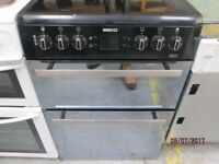 *+* BEKO 60 CMS BLACK ELECTRIC COOKER+/GOOD CONDITION/VERY CLEAN/WARRANTY+WORKS GREAT+FREE LOCAL DEL