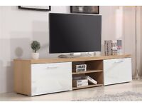 High Gloss WHITE On OAK MODERN LARGE 2M TV STAND CABINET UNIT **BRAND NEW**